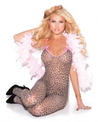 Leopard Bodystocking Satin Bows O/S