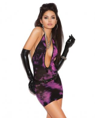 Vivace deep v tie dye mini dress black/pink o/s