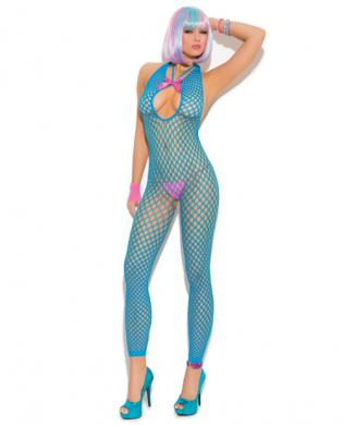 Vivace Crochet Footless Bodystocking Neon Blue O/S