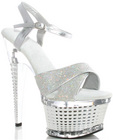 Ellie shoes disco 6in crossed strapped textured platform silver six Sex Toy Product