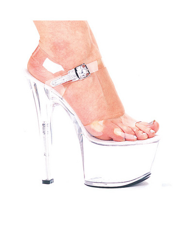 Ellie shoes, flirt 7in pump 3in platform clear nine