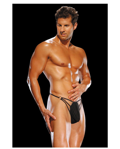 Male power g-string w/straps and rings large/x large - black