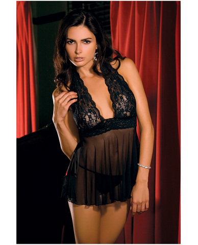 Rene Rofe Lace, Mesh Halter Babydoll and G-String Black Md