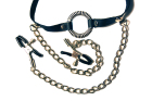 O-Ring Gag with Nipple Clamps Sex Toy Product