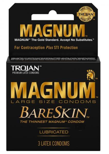 Trojan Magnum Bareskin 3 Pack Large Size Condoms