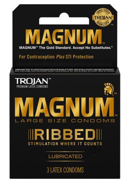 Trojan Magnum Ribbed Latex Condoms 3 Pack