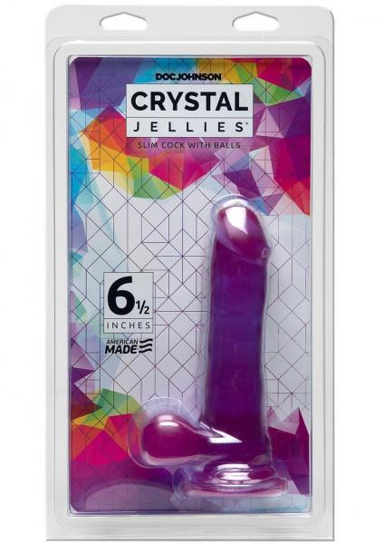 Crystal Jellies 6.5 inches Slim Cock with Balls Purple