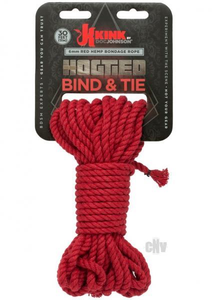 Kink Hogtied Bind & Tie Hemp Bondage Rope 30ft Red