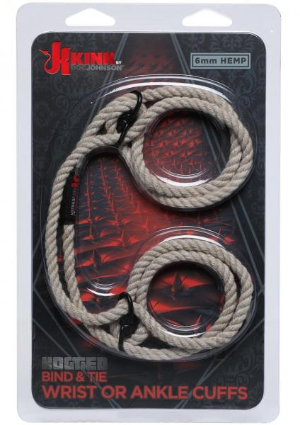 Kink Hogtie Bind & Tie Wrist Or Ankle Cuffs Natural .23 inch Hemp