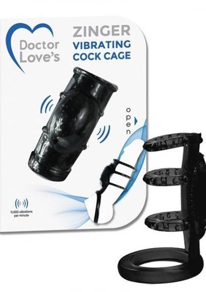 Doctor Loves Zinger Vibrating Cage Black