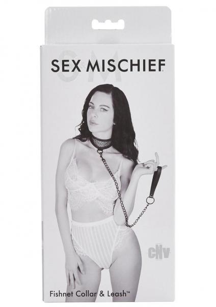 Sex & Mischief Fishnet Collar And Leash Black