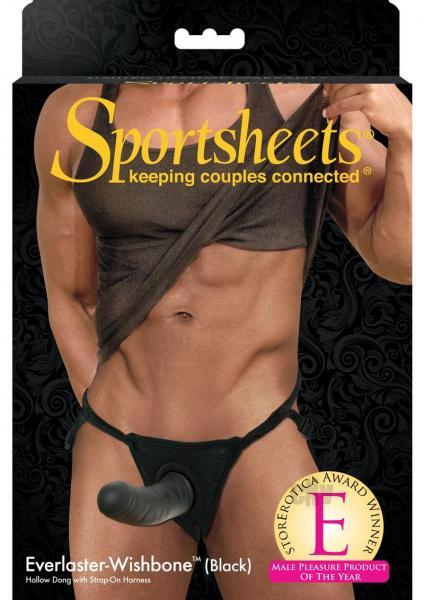 Sportsheets Black Everlaster Wishbone Hollow Strap On