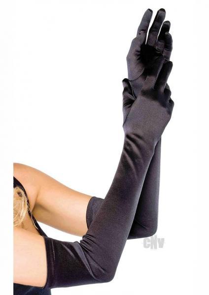 Extra Long Satin Gloves Os Black
