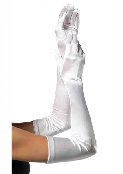 Extra Long Satin Gloves Os White