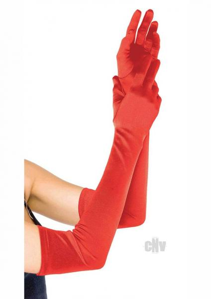 Extra Long Satin Gloves Os Red