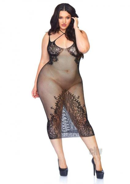 Seamless Net Halter Dress 1x-2x Black