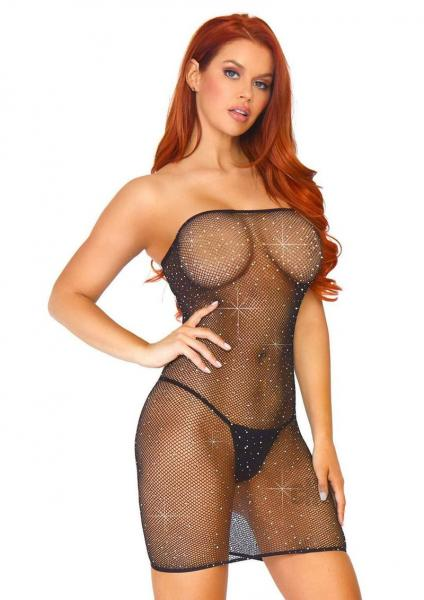 Crystalize Net Convert Tube Dress Os Blk