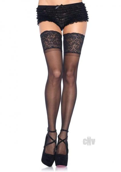 Lycra Stay Thigh High Lace Top Os Black