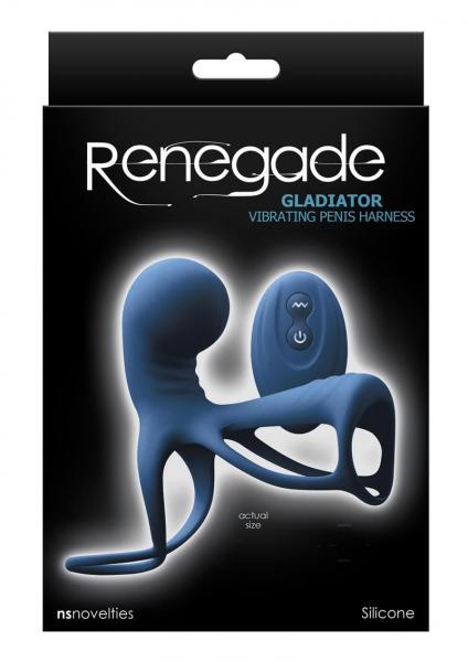 Renegade Gladiator Vibrating Penis Harness Blue