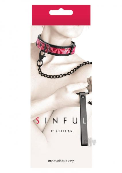 Sinful 1 inch Collar & Leash Pink