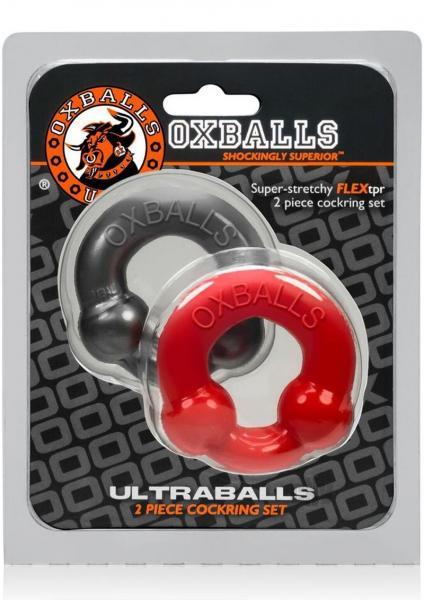 Ultraballs 2pk Cockring Steel/red