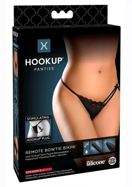 Hookup Panties Remote Bow Bikini Os Blk