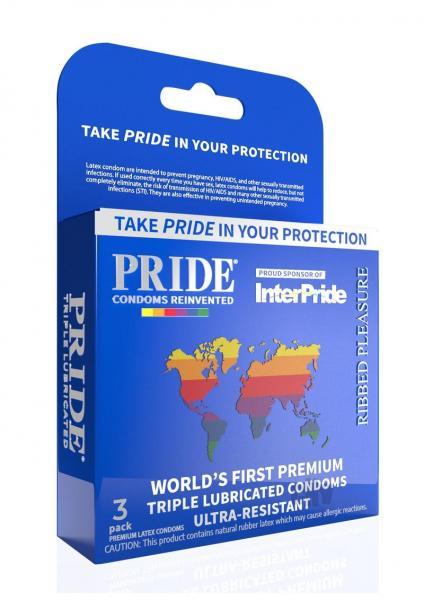 Pride Ribbed Pleasure Latex Condoms Pack Of 3
