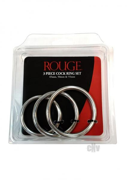 Rouge Cock Ring Set Stainless Steel 3 Pieces