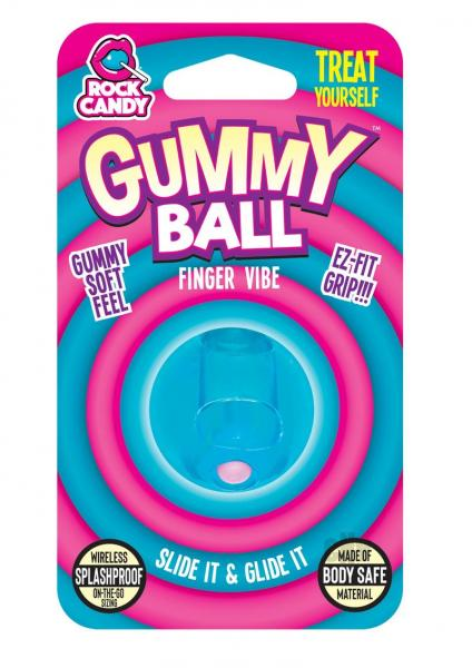 Rock Candy Gummy Ball Blister Blue Finger Vibrator