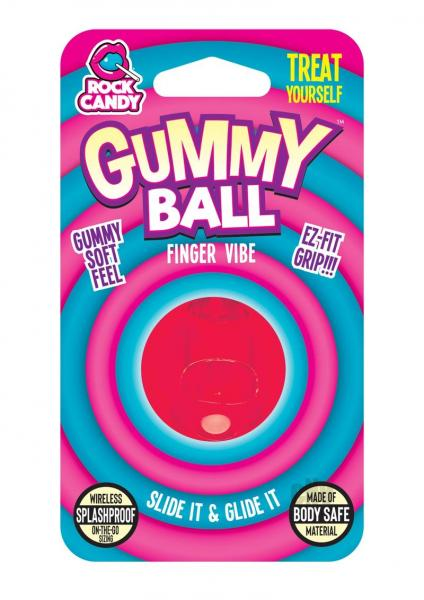 Rock Candy Gummy Ball Blister Red Finger Vibrator