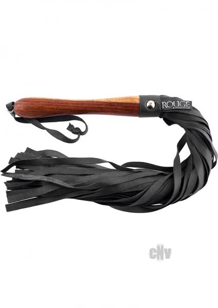 Rouge Leather Flogger Wooden Handle Black