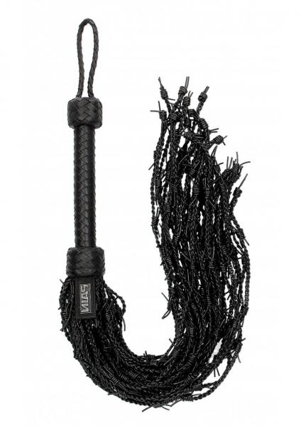 Ouch Pain Barbed Wire Flogger Black