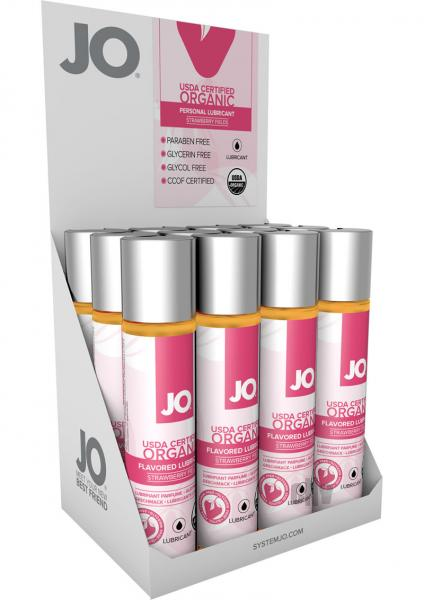 JO USDA Organic Lube Strawberry 12 Count Display