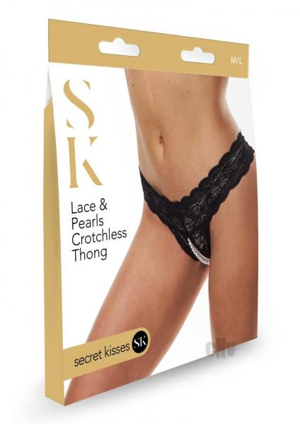 Sk Lace And Pearls Crotchless Thong M/l