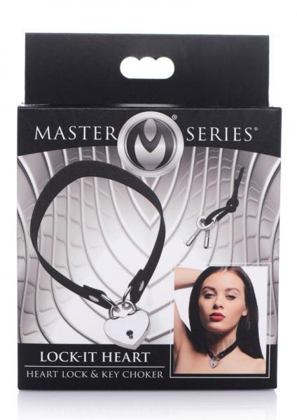 Ms Lock It Heart Lock And Key Choker Black