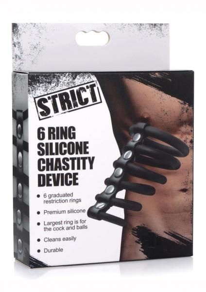 Strict 6 Ring Silicone Chastity Device