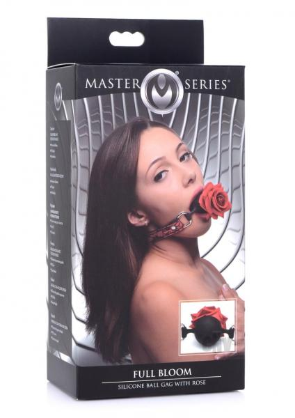 Ms Silicone Ball Gag W/rose Red