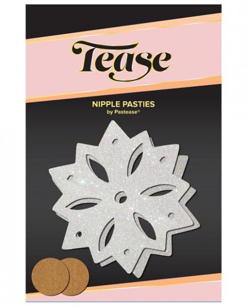 Tease Nipple Pasties Glitter Snow Flake White O/S