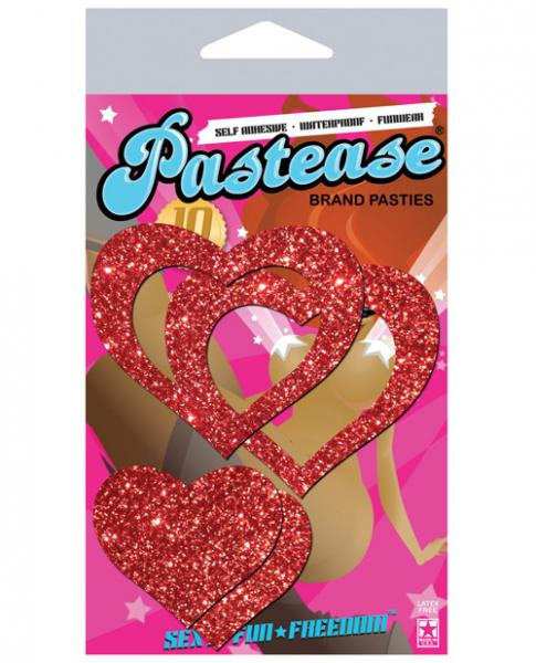 Pastease Glitter Peek A Boob Hearts Pasties Red