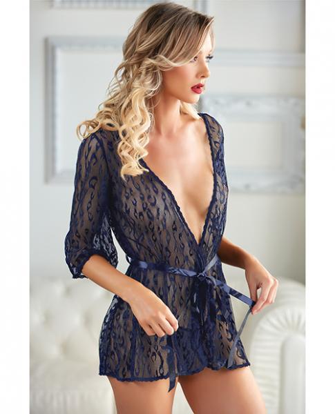 Allure Valentina Leopard Lace Robe & G-string Azure Qn