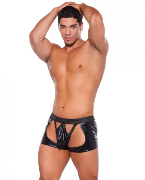 Wet Look Chaps Thong Black O/S