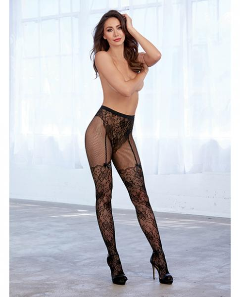 Lace & Fishnet Pantyhose W/knitted High Waist Lace Panty & Thigh High Design Black O/s