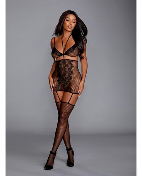 Fishnet & Lace 2 Pc Garter Dress Black O/s