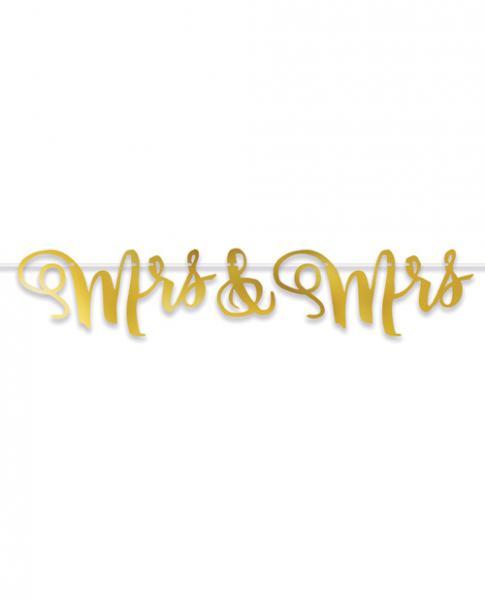 Foil Mrs & Mrs Streamer Wedding Banner Gold