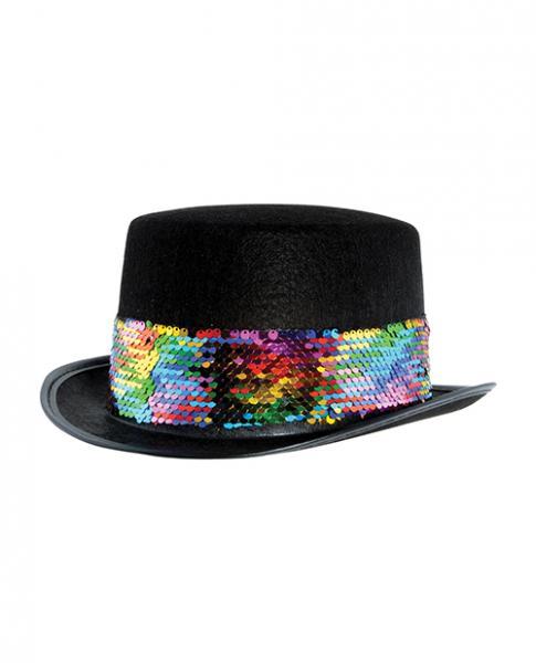 Pride Felt Topper W/rainbow Sequined Band  - Black