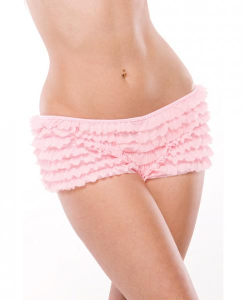 Ruffle Shorts Back Bow Detail Pink XXL