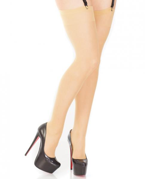 Sheer Thigh High Stockings Back Seam Nude O/S