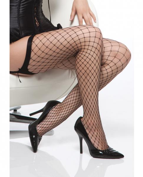 Diamond Net Thigh High Stockings Black O/S