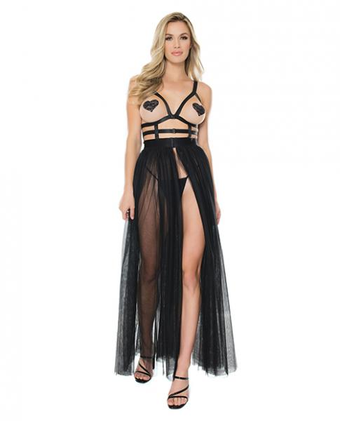 Elastic Cage Bodice & Double Layer Tulle Dress Black O/s