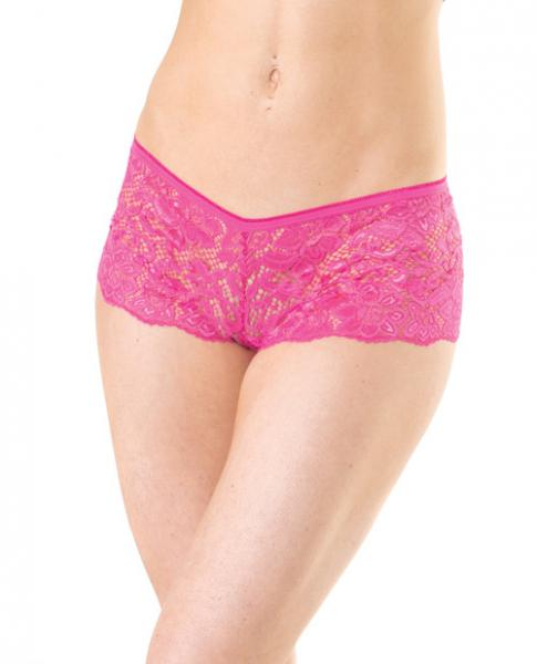 Low Rise Stretch Scallop Lace Booty Shorts Hot Pink O/S
